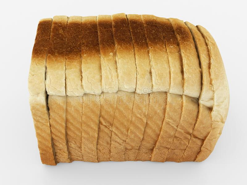 Bread sliced - toast slices put together on white stock illustration