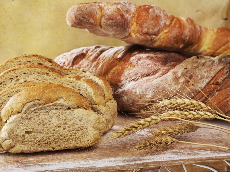 Bread and bread slices royalty free stock photo