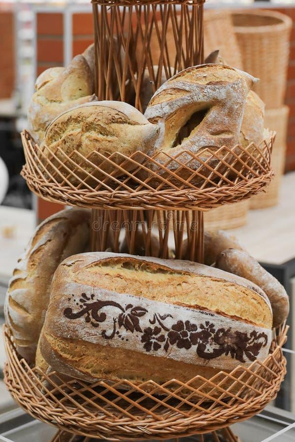 Bread specialty. Traditional bread specialty bakery raion shopciabata pave ornamente oltenesti romania royalty free stock images