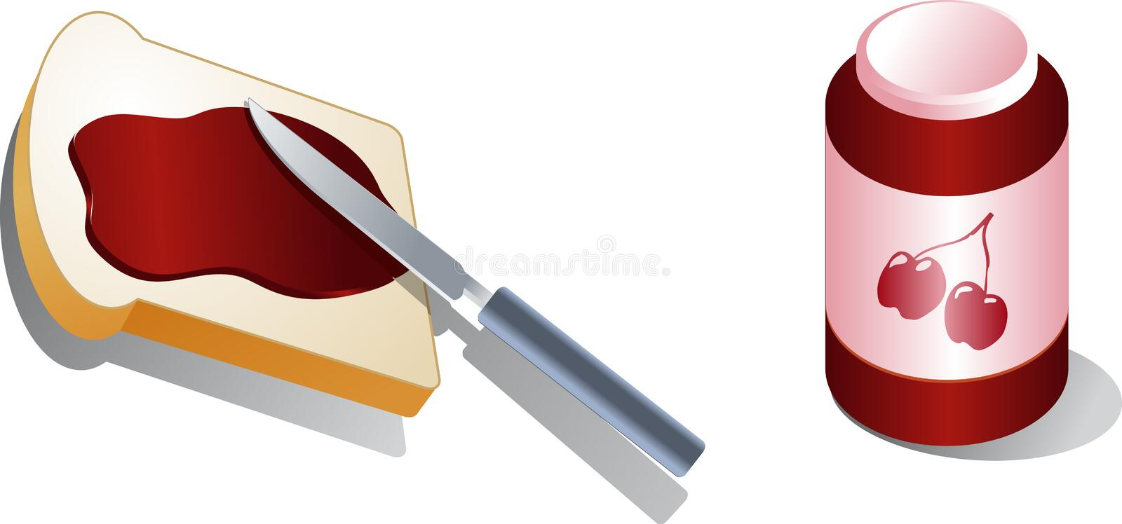 Bread with spread. Cherry jam Isometric 3d illustration Vector illustration available for download. Click here for more vectors stock illustration