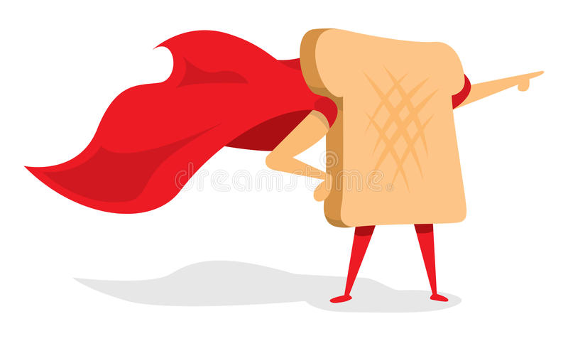 Bread or toast super hero with cape. Cartoon illustration of bread or toast super hero with cape royalty free illustration