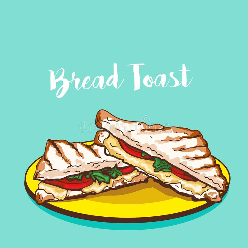 Bread toast vegetable sandwich vector illustration. Food wastren india indian veggies tomato cheese wheat meal lunch breakfast   plate hot cafe vector illustration
