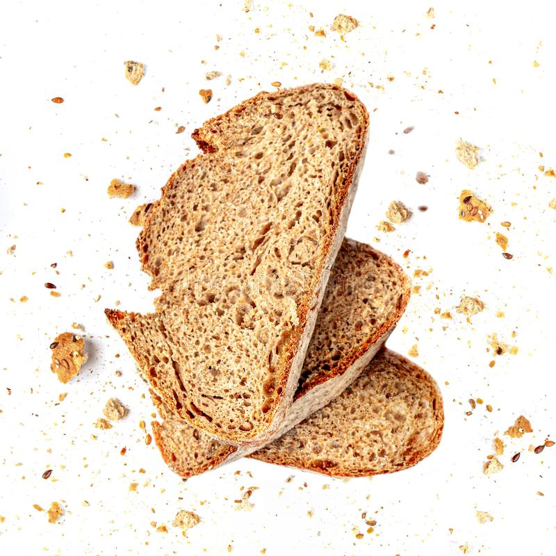 Free Bread Toast With Crumbs Isolated On White Background. Fresh Bread Slices Close Up. Top View Royalty Free Stock Photos - 151525228