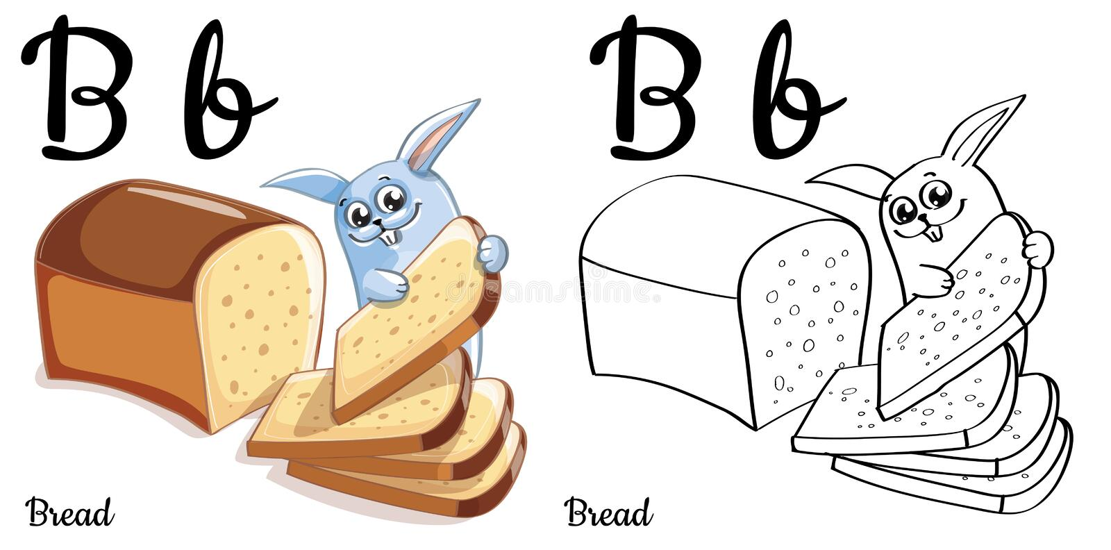 Bread. Vector alphabet letter B, coloring page royalty free illustration