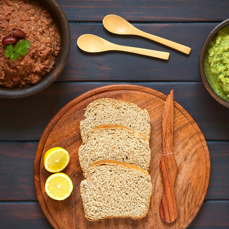 Bread with Vegetable Spreads royalty free stock photos