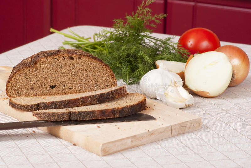 Download Bread and vegetables stock image. Image of plate, table - 12597541