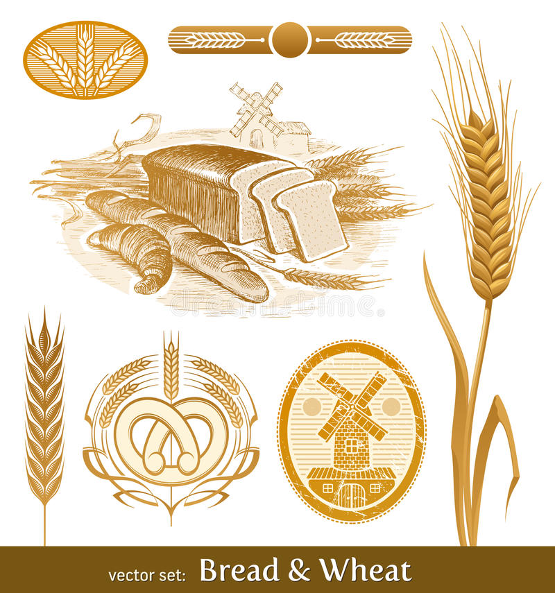 Bread and wheat. Set: bread, wheat and mill vector illustration