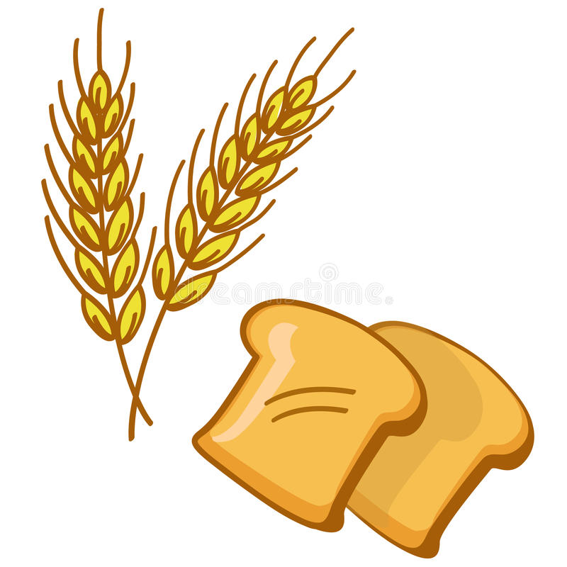 Bread and wheat. Illustration of sliced bread and wheat corn vector isolated stock illustration
