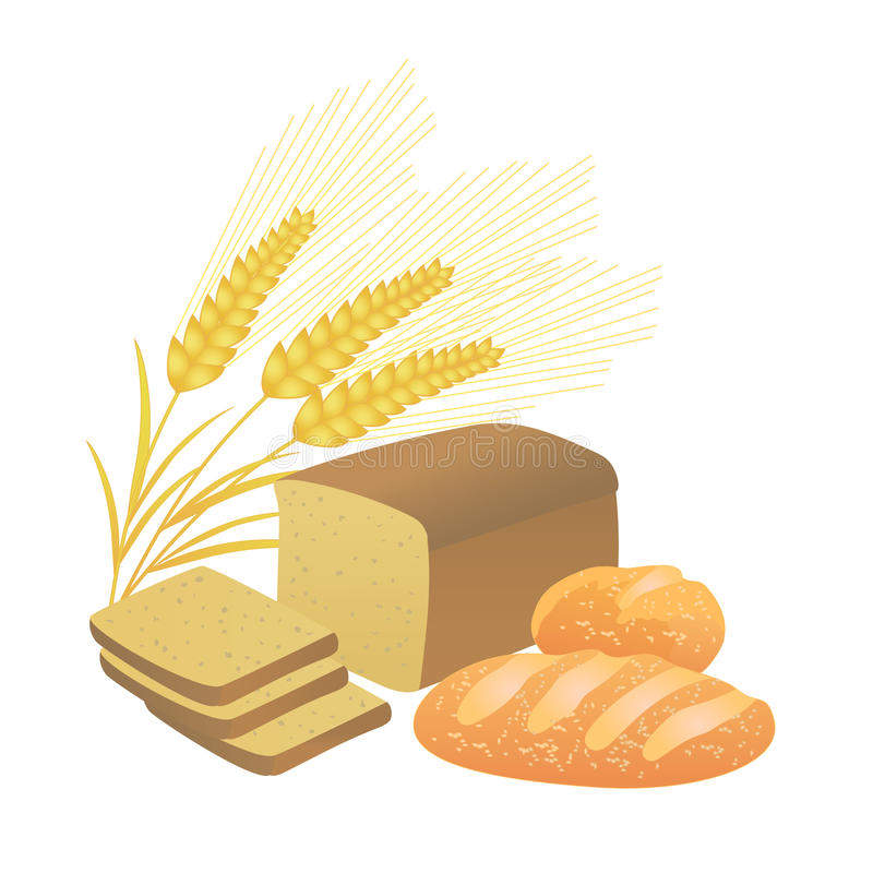 Bread and wheat spikelets, illustration. Bread and ears of wheat on a white background, illustration stock illustration