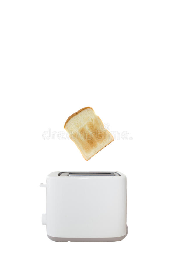 Bread and white toaster royalty free stock photography