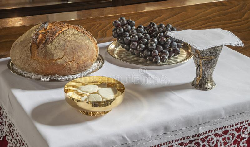The bread and wine - catholic mass - the symbols of eucharist.  stock image