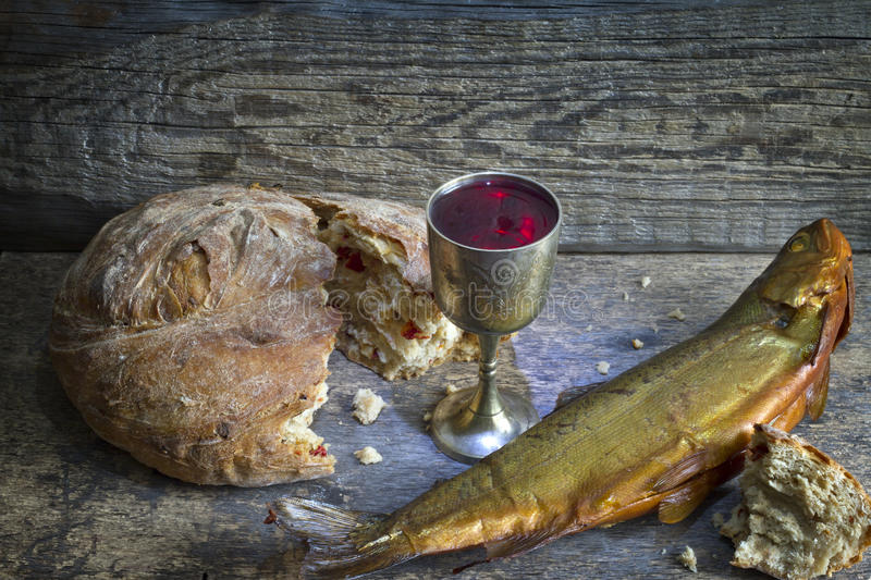 Bread and wine holy communion sign symbol royalty free stock photography