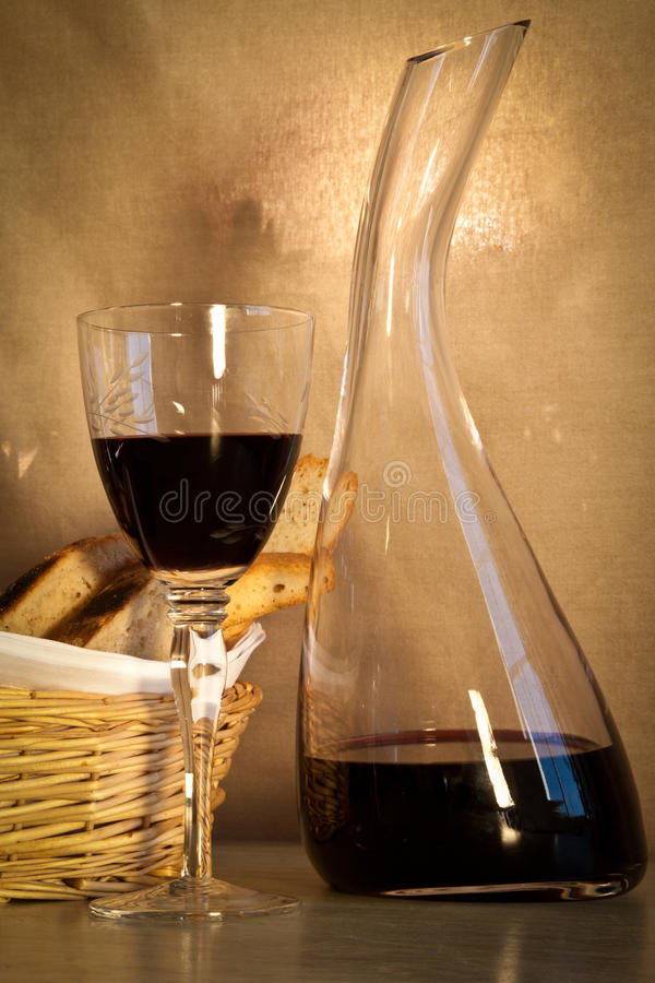 Bread and wine, portrait. stock image