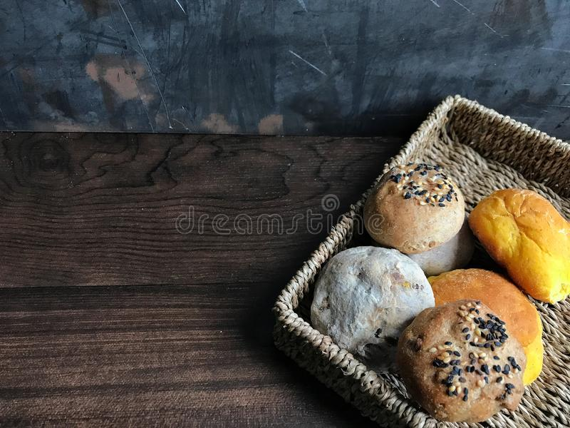 Bread on wood table royalty free stock images