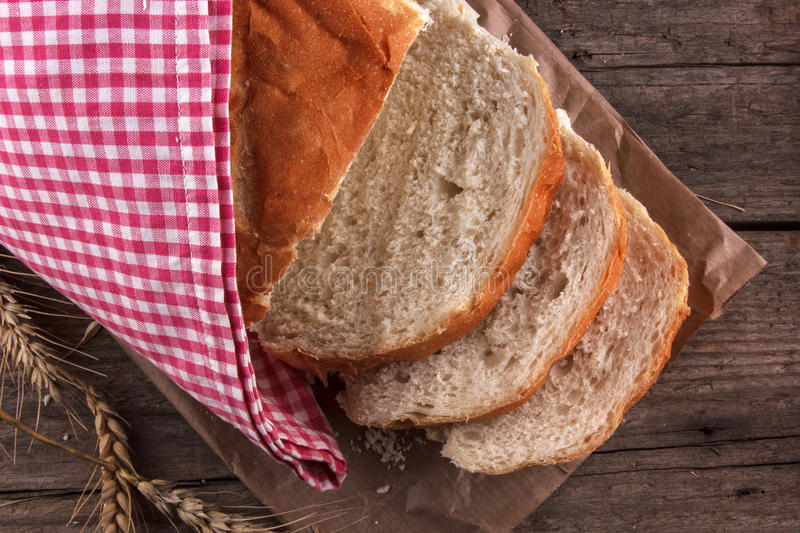Bread on a wooden board royalty free stock images
