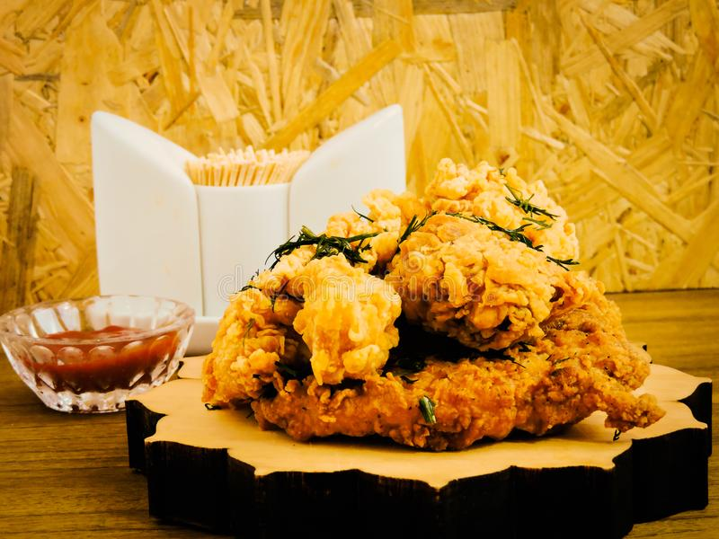 Breaded Crispy fried kentucky chicken tasty dinner.Close up Gourmet Main Dish for Dinner with Crispy Fried Chicken. Plate of fried chicken with french fries on stock photography