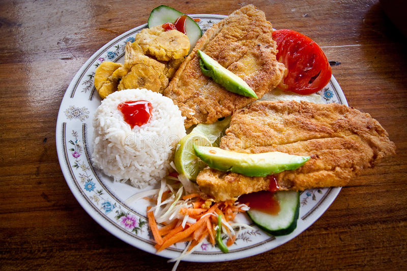 Breaded fish served with rice and plantain chips royalty free stock photography