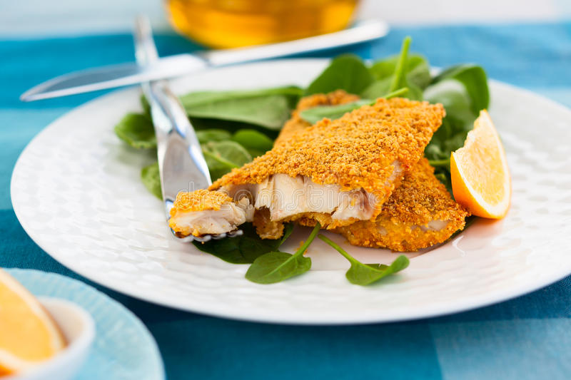 Breaded fish. With spinach on plate stock photography