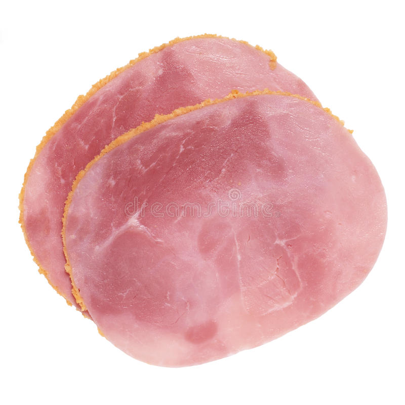 Breaded ham slices. Slices of breaded cooked ham on white background stock image