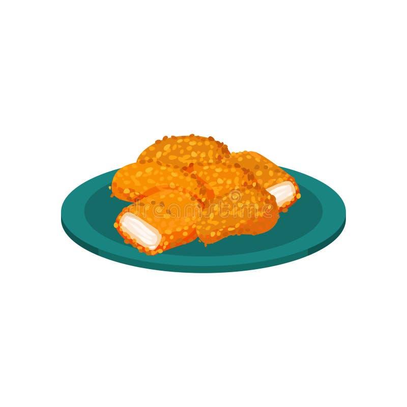 Breaded kurczak bryłki słuzyć na talerzu, smakowitego drobiowego naczynia wektorowa ilustracja na białym tle royalty ilustracja