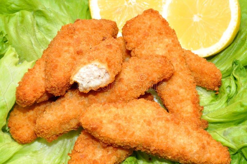 Breaded kurczak Goujons zdjęcia royalty free