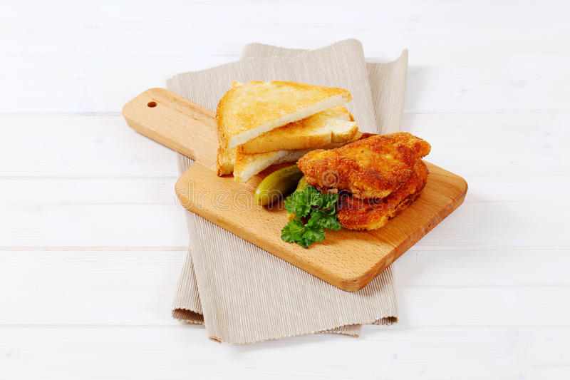Download Breaded Schnitzels With Toasts Stock Photo - Image: 83707112