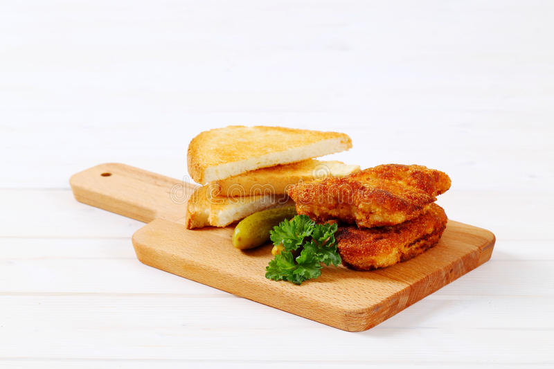 Download Breaded Schnitzels With Toasts Stock Photo - Image: 83707173