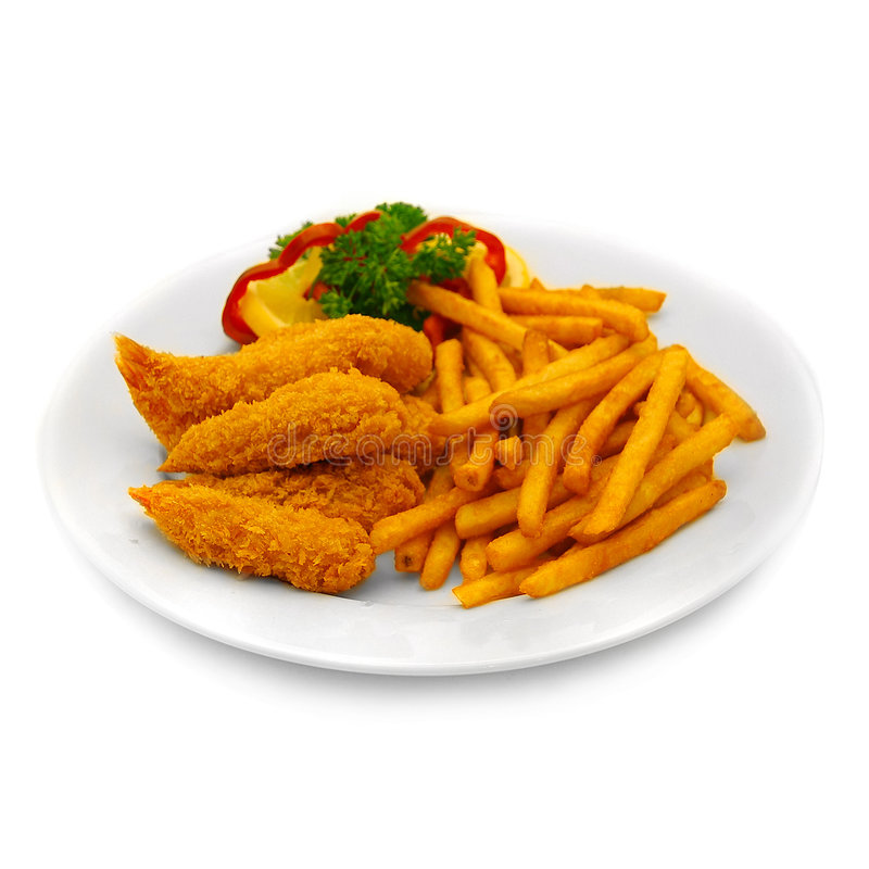 Free Breaded Shrimp And Chips Royalty Free Stock Images - 907039