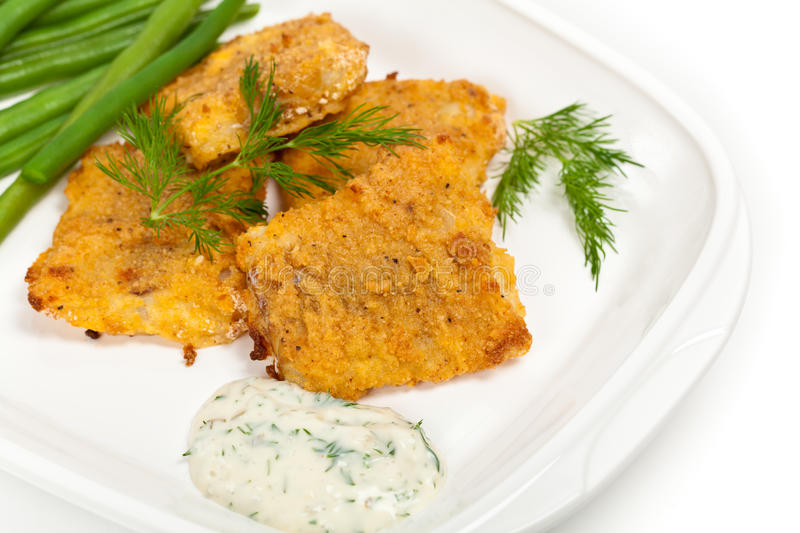 Breaded White Fish Fillets royalty free stock photo