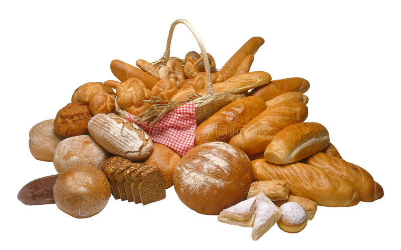 Breads. Assorted composition of breads isolated on white background stock photography
