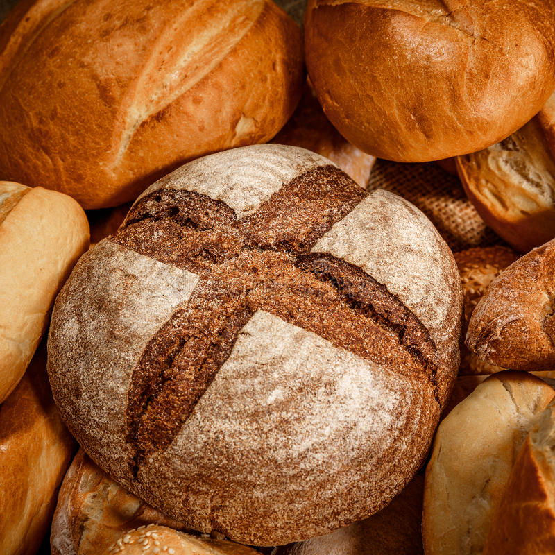 Breads and baked goods stock image