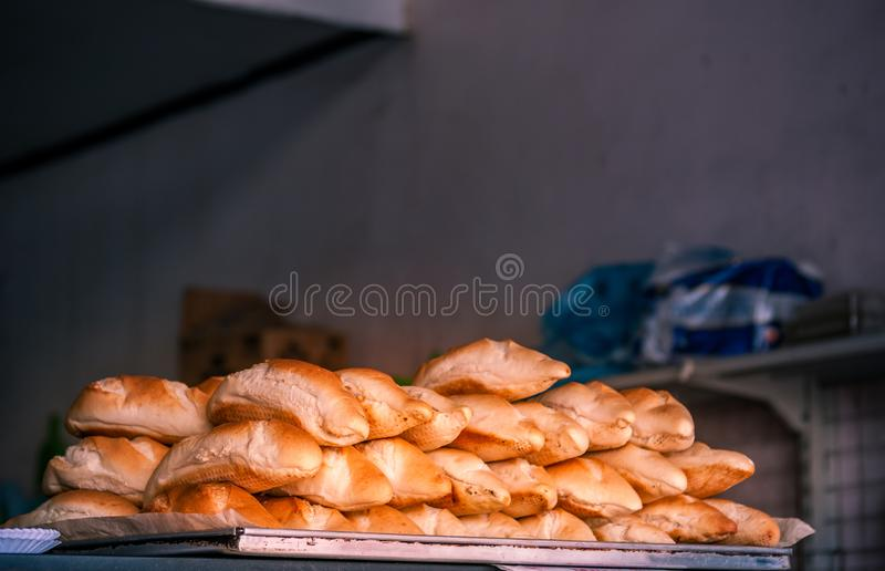 Breads and baked goods close-up. royalty free stock photo