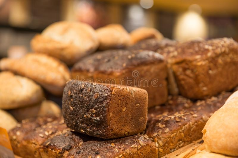 Breads and baked goods close-up royalty free stock image