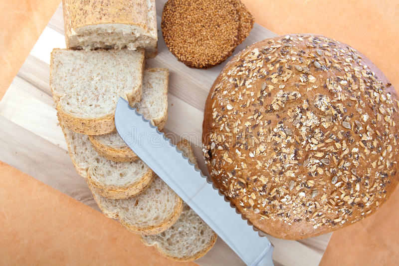 Breads and knife stock images