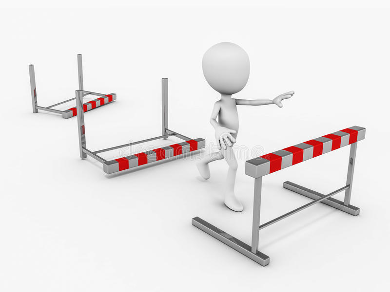 Break barrier. Breaking the barrier concept, man figure 3d running white hitting the obstacles in path, white background stock illustration