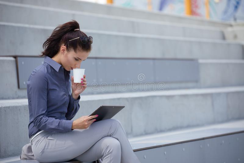 Break city time, Business woman concept royalty free stock photography
