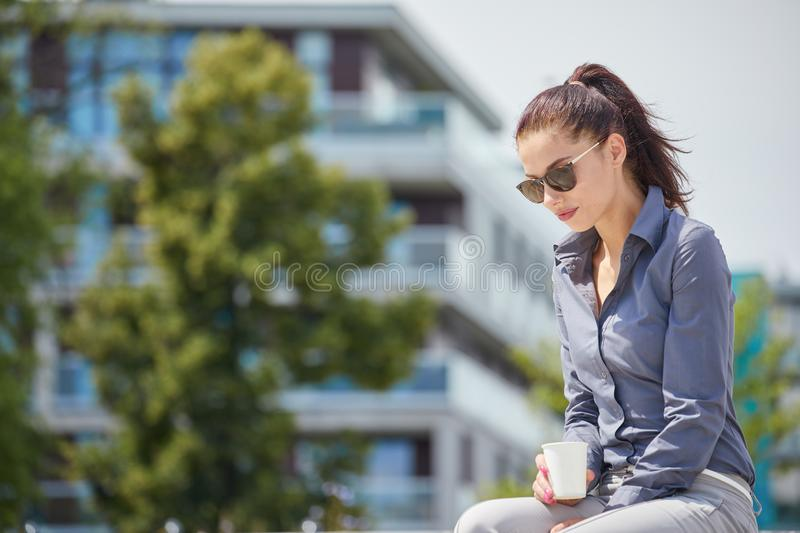 Break city time, Business woman concept royalty free stock image