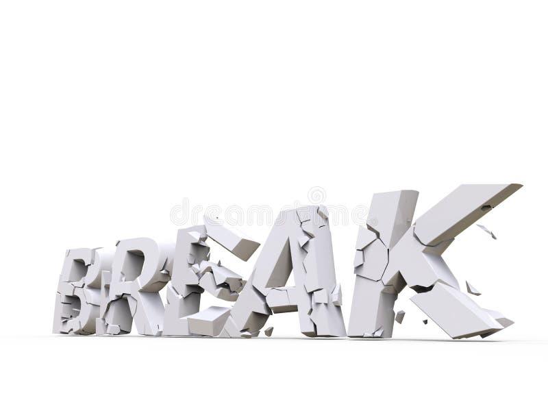 Break concept - white fonts stock illustration