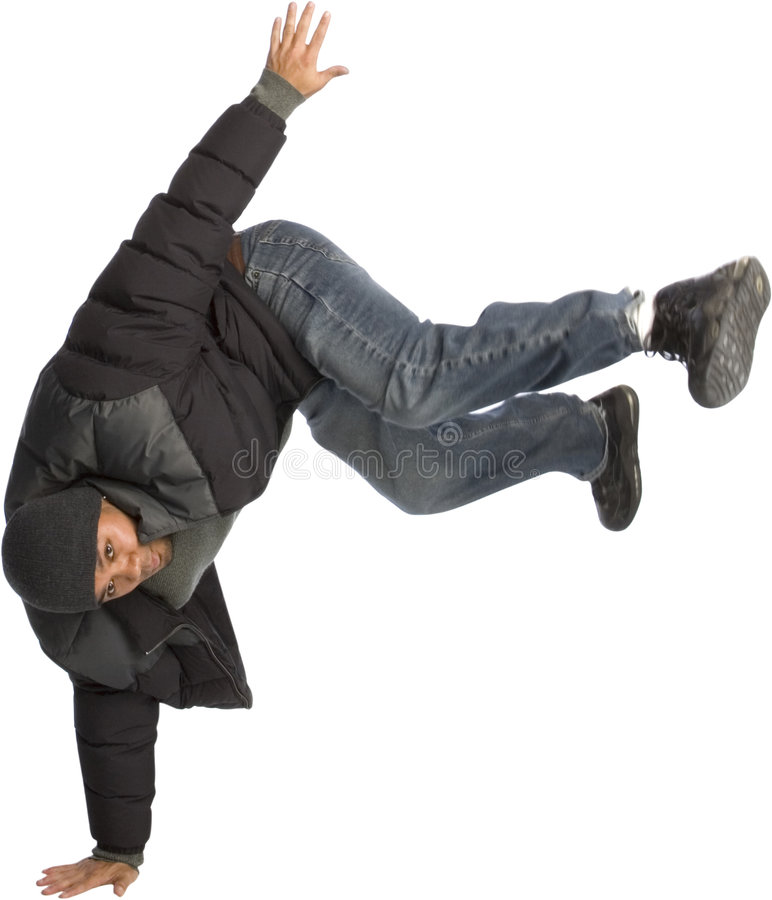 Break Dance. Filipino man break dancing or doing a handstand stock photo