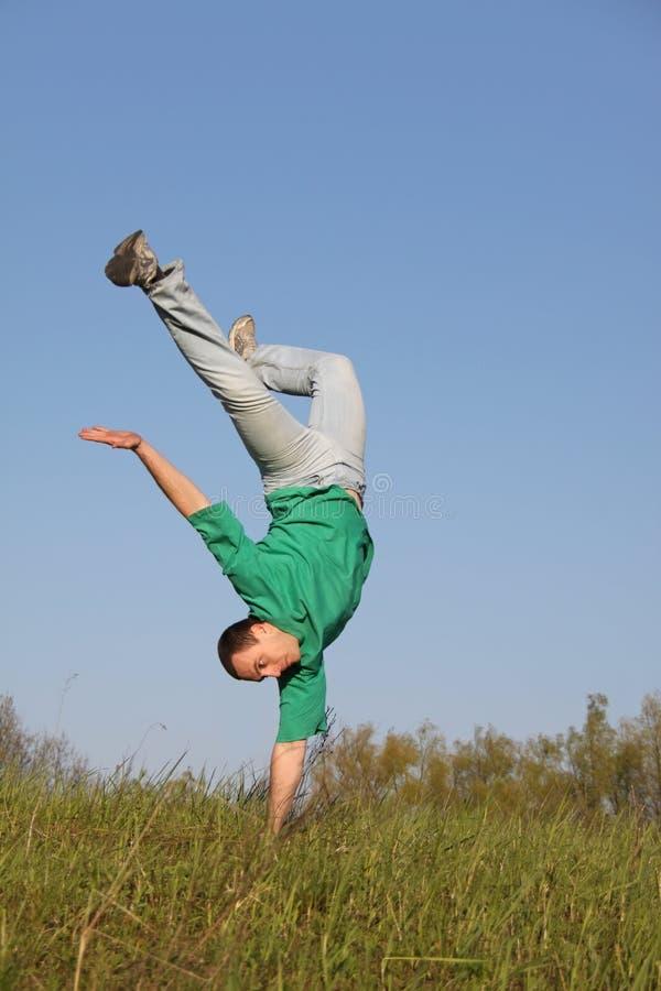 Break dance. In the grass royalty free stock photos