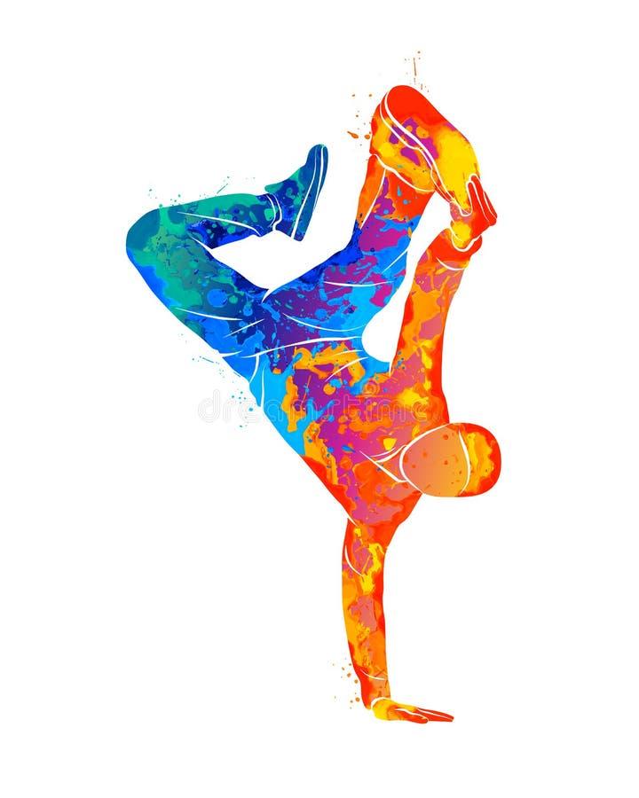 Break dance abstracto del hombre joven del chapoteo de acuarelas stock de ilustración