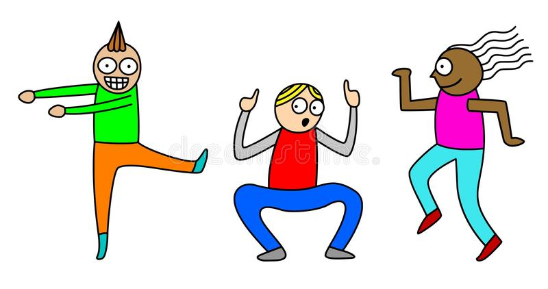 Vector Illustration Of Three Cartoon Style Boys Friends Dancing Isolated On White Background Editable EPS File Available