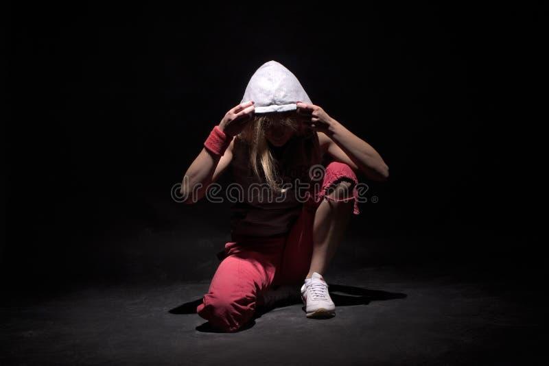 Break dance girl royalty free stock photo