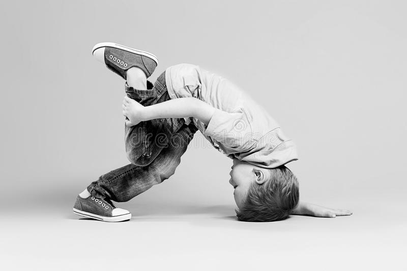 Break dance kids. little break dancer showing his skills. royalty free stock photos