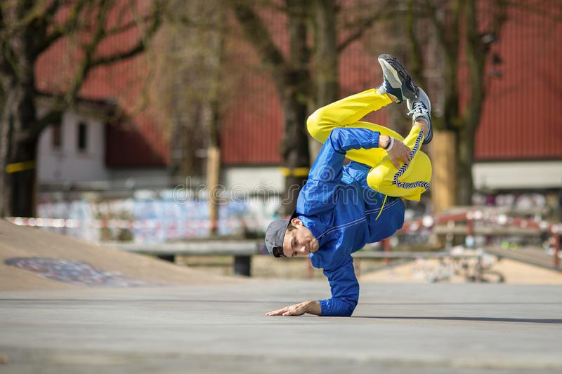 Break dance movement, performer on the street, Playground. Sports life royalty free stock images