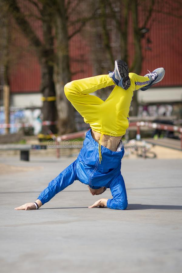 Break dance movement, performer on the street, Playground. Sports life stock images