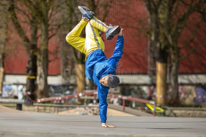 Break dance movement, performer on the street Playground. Break dance movement, performer on the street, Playground. Sports life royalty free stock photos