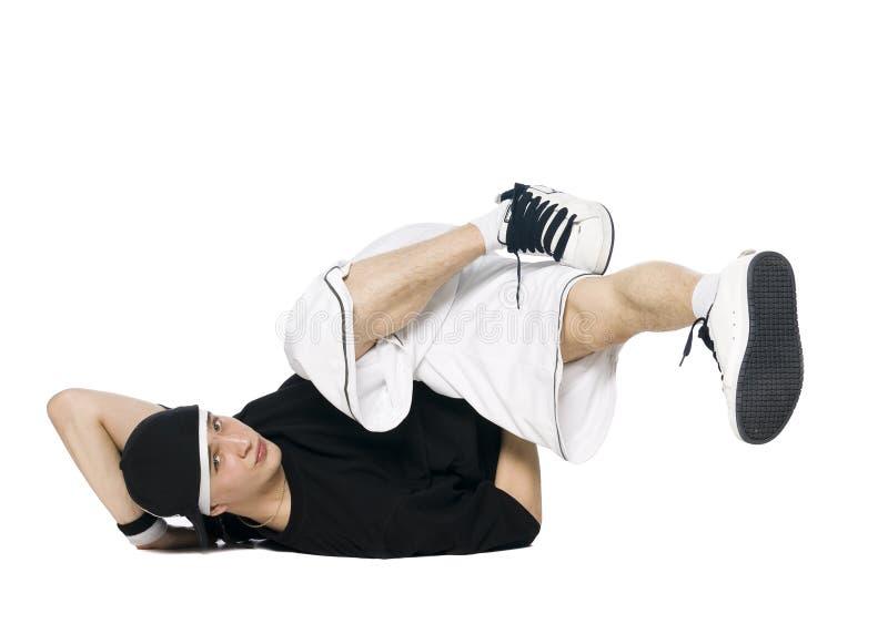 Break dancer. Isolated on white royalty free stock images
