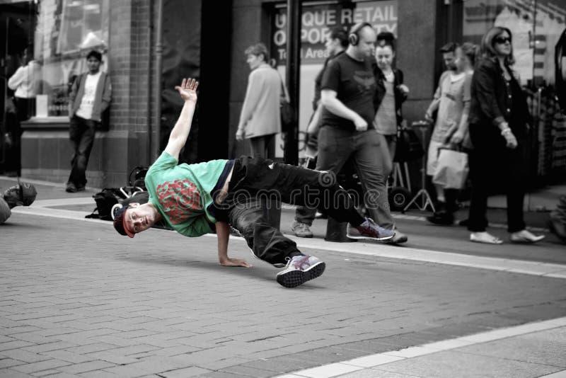 Break dancer on city street stock image
