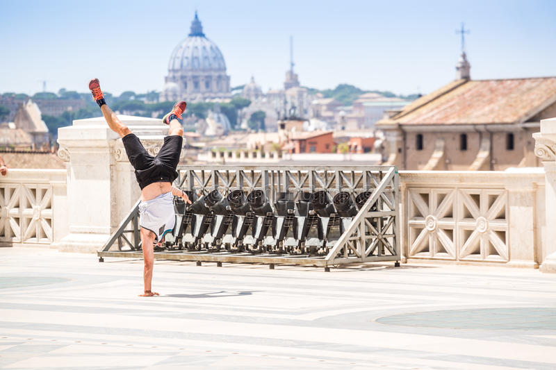 Break dancer on the terrace of Rome, Italy royalty free stock images